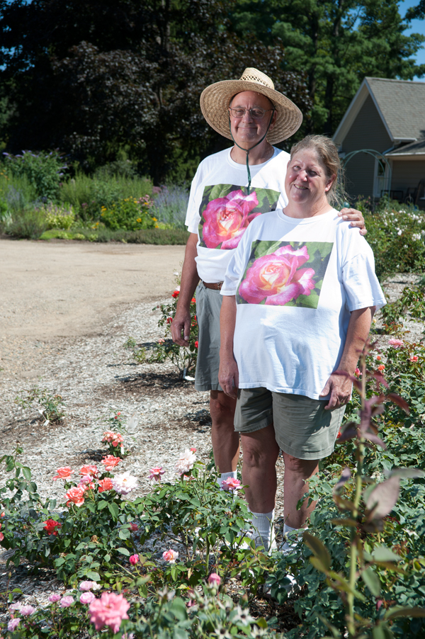 Tom , left, and Joyce Conklin enjoy growing roses and many other flowering plants at Walnut Hill Farm near Bangor.