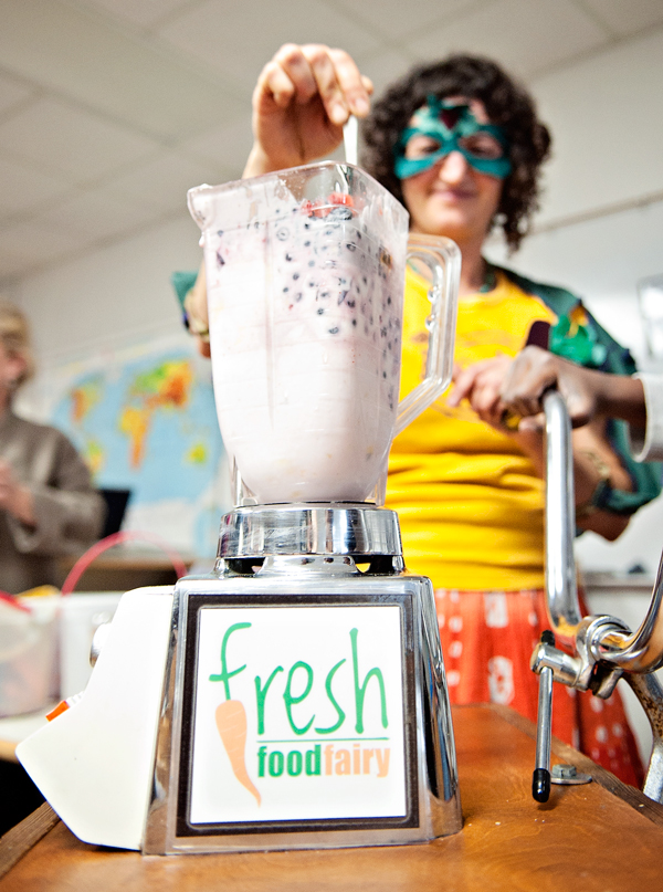The Fresh Food Fairy blends up some smoothies at Northglade Montessori Magnet School.