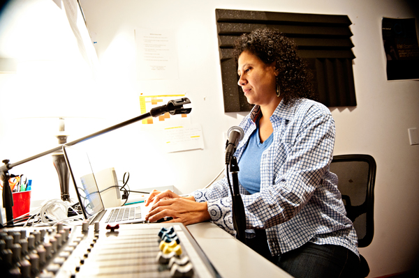 Michelle Johnson sets up the Radio station run by Fire Historical and Cultural Collaborative.