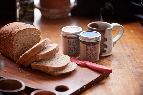Elder Fire Farms homemade jams with some of Heather Colburn's fresh warmed bread.