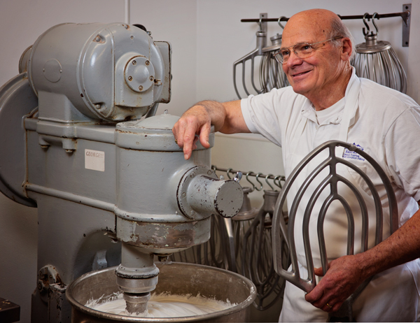 Karel Boonzaaijer still helps out in the bakery