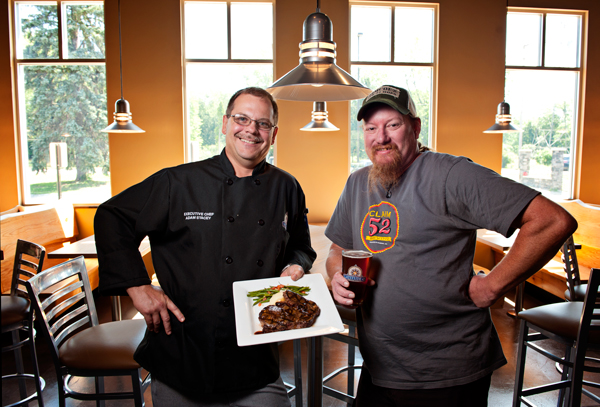 Adam Stacey, executive chef, left, and Scott Freitas, master brewer, for Latitude 42 Brewing Company.