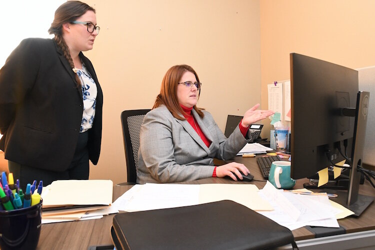 Attorneys (from left) Katherine Nichols-Leindecker and Angela Easterday with the Calhoun County Public Defender Office.