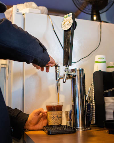 Cafe Rica features cold brew on tap.