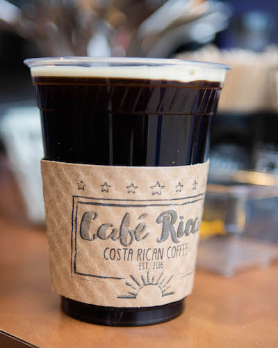 A cup of coffee from Cafe Rica that started out with beans from a Costa Rican coffee-growing co-op.
