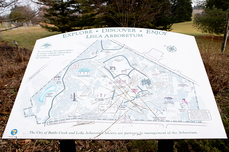 A map helps visitors orient themselves at Liela Arboretum.