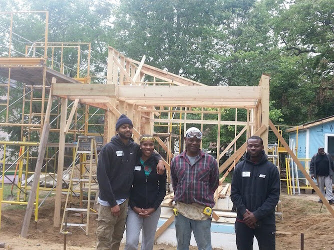 No. 8 Ben Brown and other volunteer builders helped construct the frame of Brown's tiny house.
