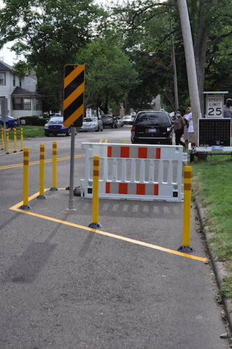Chicanes are are to be installed on residential streets throughout the Northside Neighborhood.