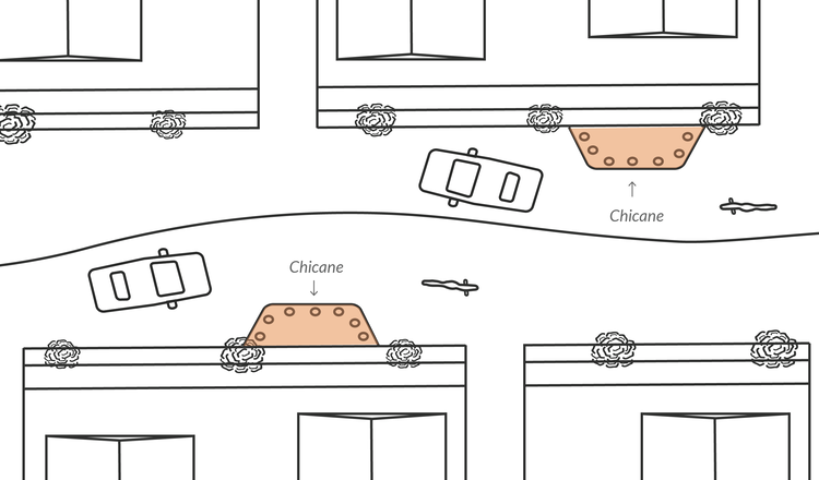 This illustration shows how chicanes lead motorists to slow down. According to city officials, studies indicate they lower traffic speeds and reduce traffic crashes by about 29 percent.