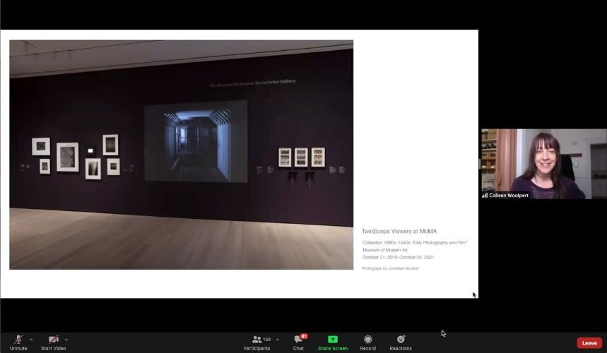 Giving a zoom artist talk (TwinScope Viewer at MoMA shot).