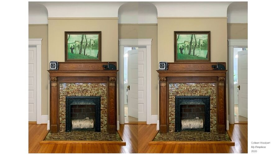 """My Fireplace"", both a standard photo and stereoscopic 3D image, 2021."