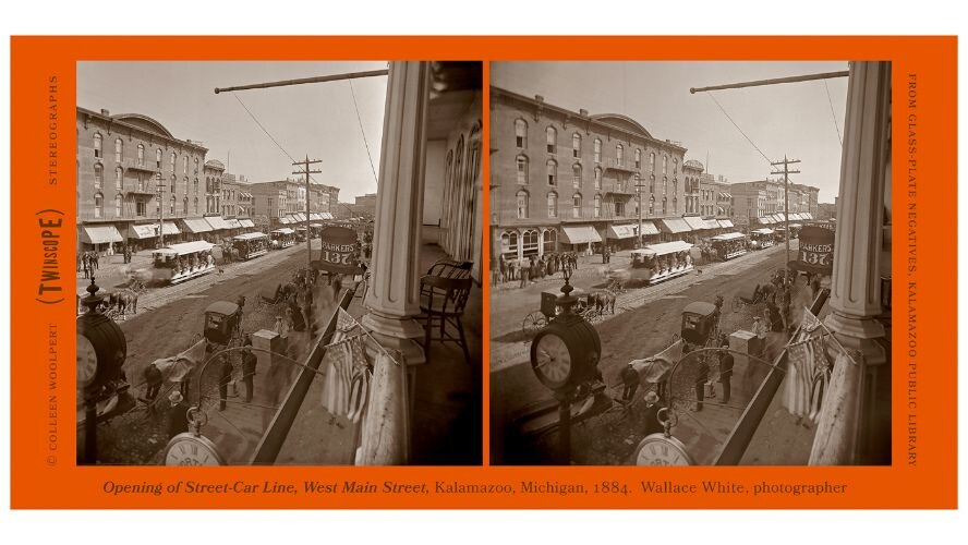 "2019 stereograph from ""In-Depth Kalamazoo"" showing downtown in the 1880s."