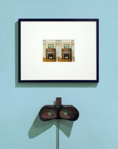 """My Fireplace"" framed stereograph with TwinScope Viewer, 2021."