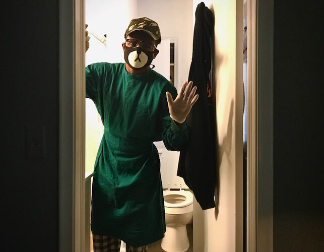 Quarantining at home means your family somehow has to avoid you. A wave from the bedroom doorway, garbed in a PPE gown, mask and goggles, was the closest one of my sons would come.