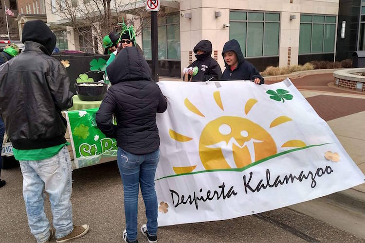 Despierta Kalamazoo gets ready to march.