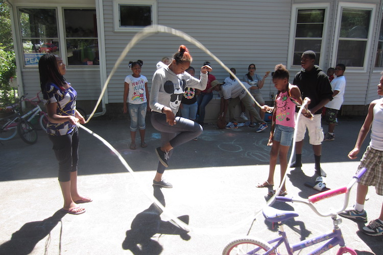 Summers at Peace House are filled with activity, including planned and impromptu Double Dutch tournaments.