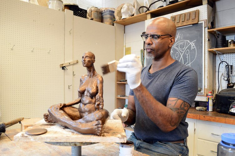 "Sculptor Brent Harris. ""The body is like the alphabet, and I'm just sort of expanding it, pulling it, contracting it."""