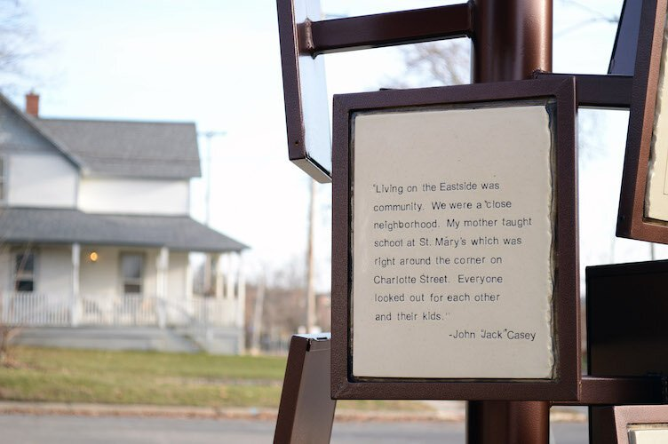 A sculpture features the quotes of Eastside neighbors.