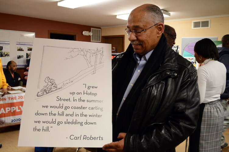 "Carl Roberts, former Eastside resident, with his ""Eastside Voices"" quote."