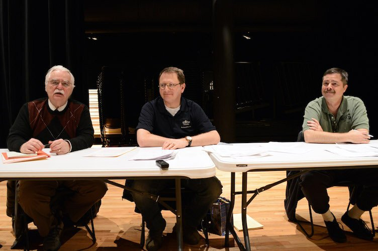 From left, All Ears founder Don Ramlow, and co-production heads Rick Fontaine and Jeff Mais auditioning voice actors.