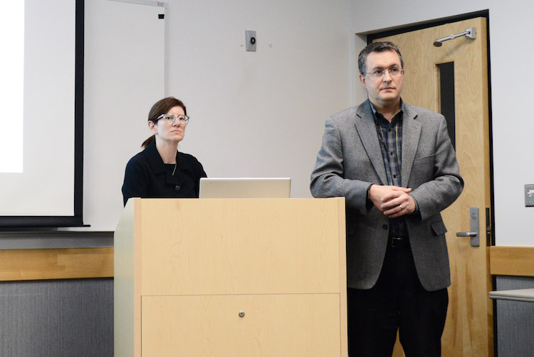 Director of Community Planning and Economic Development Rebekah Kik and Deputy City Manager Jeff Chamberlain at a recent pubic forum on plans for Complete Streets.