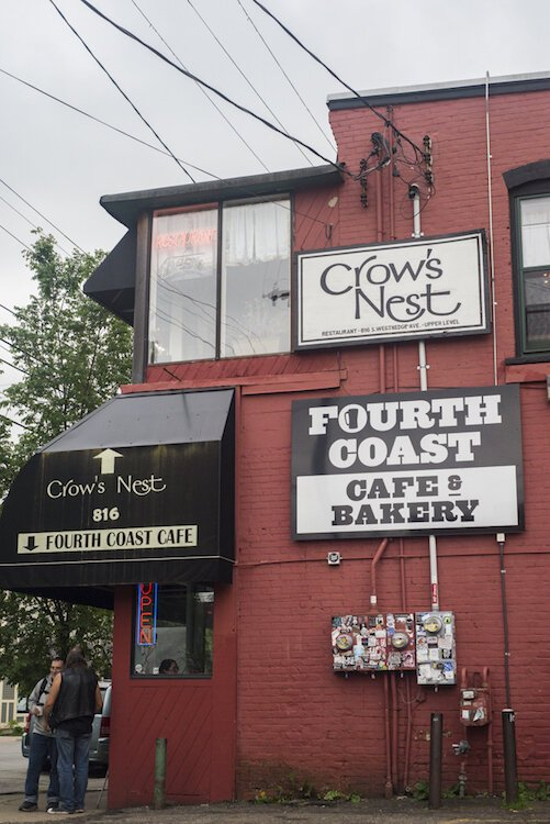 Fourth Coast Café & Bakery, likely the only area coffee shop open 24 hours on the weekends, and Crow's Nest, opened since 2003, draw patrons from near and far.