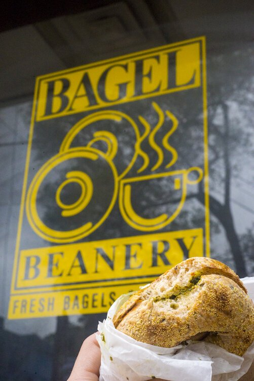Bagel Beanery, Vine's go to bagel shop, draws more than a few Kalamazoo Area Math and Science Center students.