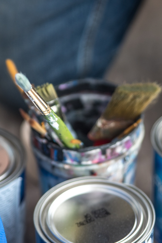 Tools Patrick Hershberger uses while at work on a new mural for the Edison neighborhood. Photo by Fran Dwight