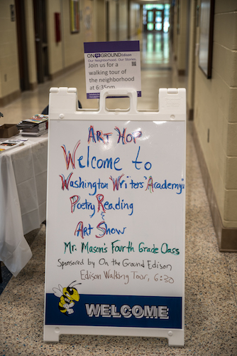 A welcome sign at Washington Writers' Academy.