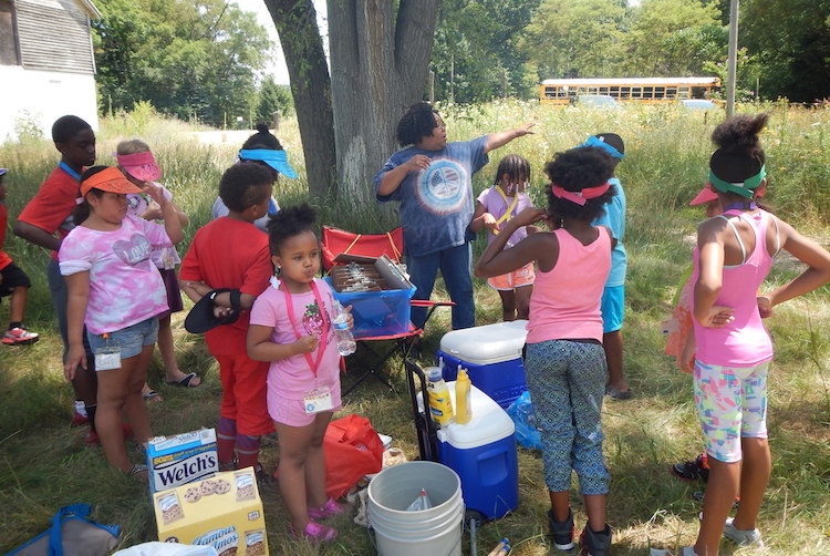 Students in the EASEL program learn outdoors at Bow in the Clouds