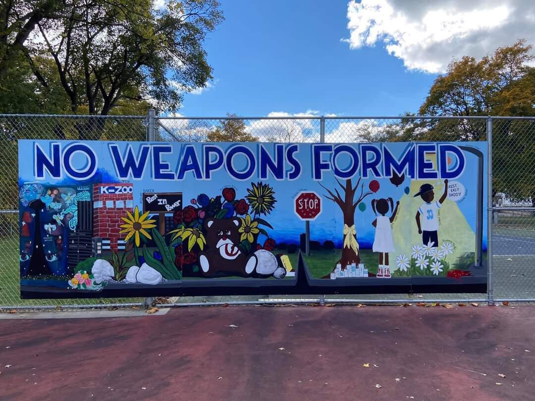 Kalamazoo Black Artists Initiative created an anti-gun violence mural in Lacrone Park in October.