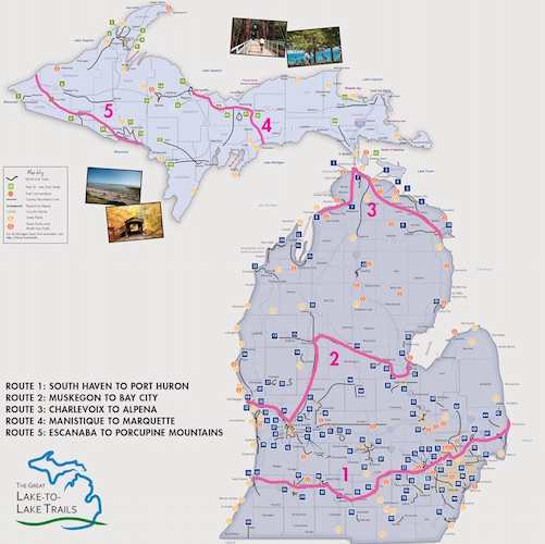Great-Lake-to-Lake-Trails-Route-Overview: Great Lake-to-Lake Trail routes