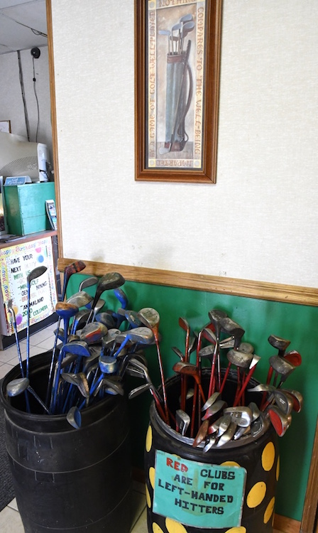 Golf clubs for use at the driving range.