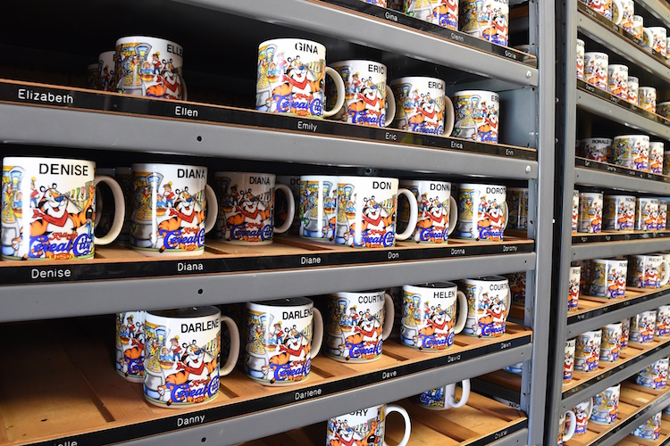 Coffee mugs with names left over from Kellogg's Cereal City U.S.A.