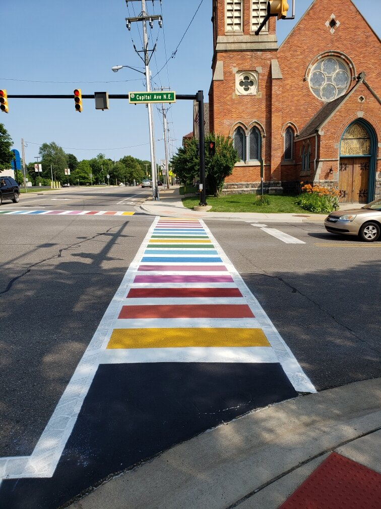 Painting of the crosswalks is considered artwork in Battle Creek and grant funding made them possible.