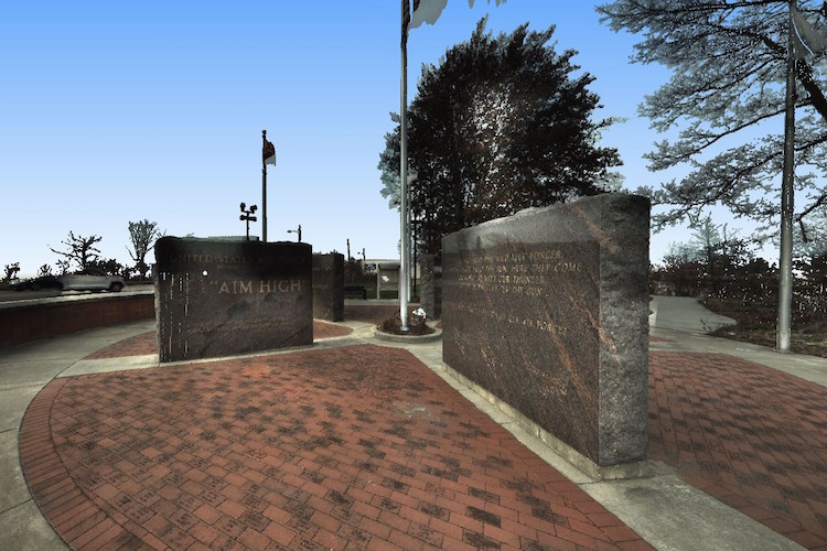 An image of the Rose Park Veterans Memorial from a laser scanner.