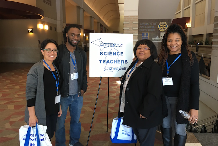 Rebecca Joyce, EASEL co-teacher, WIll Huddleston, Eastside Youth Strong Program Manager, and CHAMPS and EASEL youth development workers, Heather Taylor and Yulonda Taylor, attend a science conference.