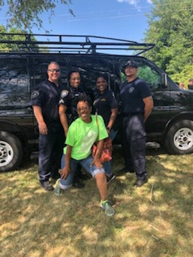Battle Creek Police Officers and youth participate in a Police Athletic League and New Level Sports event in the summer of 2019,