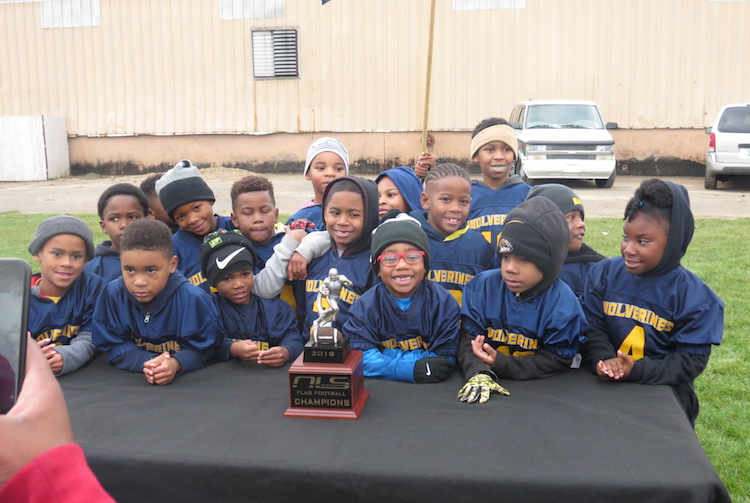 The Kalamazoo Wolverines Rocket Football teams participate in the New Level Ministries League in Battle Creek.