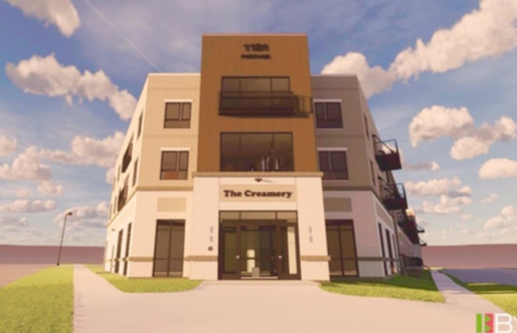 An artist's rendering of The Creamery, the $14.2 million residential and commercial project that is planned for the southwest corner of Lake and Portage streets in the Washington Square area of the Edison Neighborhood.