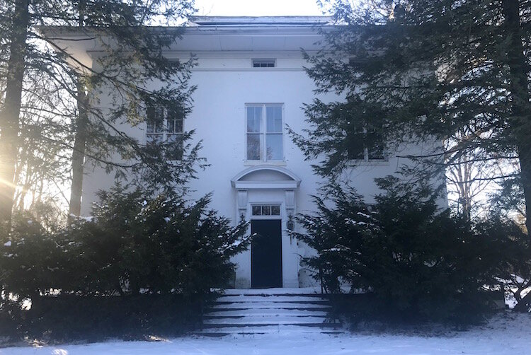 Although it seems less grand on a snowy winter afternoon, the Charles E. Stuart House, built in 1858 and located on a street of the same name, had posh features such as an observatory and six rooms on each floor.