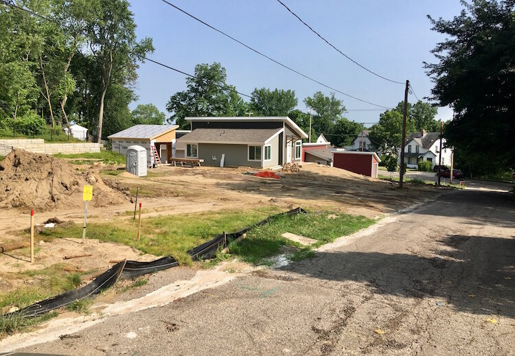 This is the rear of the northernmost point in the Eastside Gateway Project where there is ongoing construction along Foresman Avenue, looking south towards East Michigan Ave.