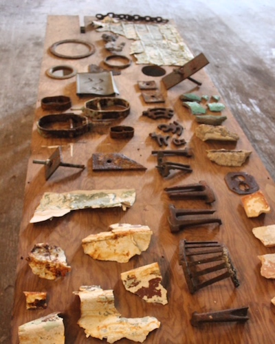 Penelope Anstruther created many pieces of art from found objects during her Prairie Ronde Artist residency.