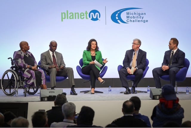 Gov. Gretchen Whitmer announced the final round of pilot projects to receive funding under the $8 Million Michigan Mobility Challenge initiative at the North American International Auto Show.  Photo Courtesy North America International Auto Show