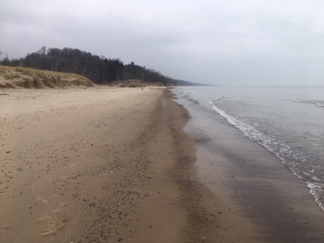 On Lake Michigan a beach changes quickly.