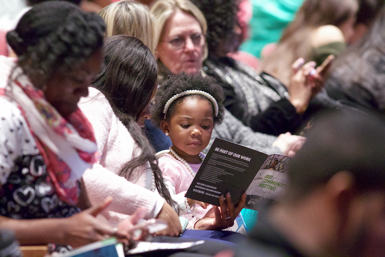 A youngster at the 2017 Community Meeting with Dr. Mae Jemison