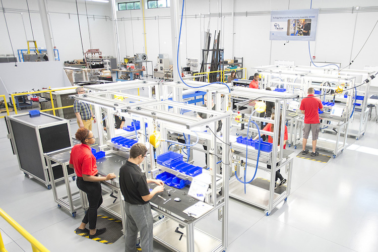The accelerated KAMA job training program involves experience on a working manufacturing line that applies a variety of skills sets and production concepts.