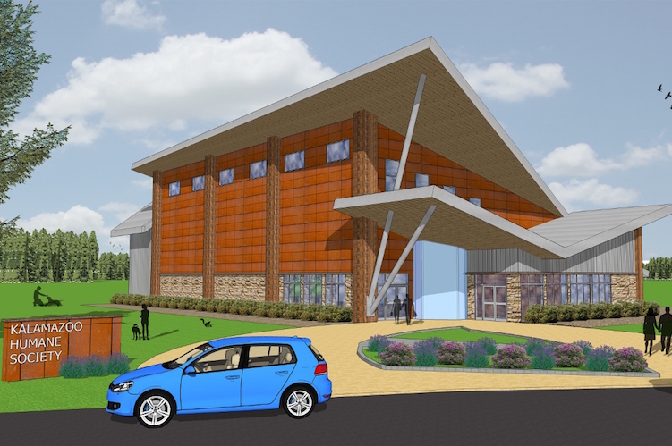 An architectural rendering of the new building