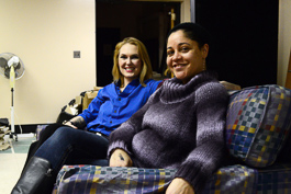 "Laura Henderson, left, Queer Theatre Kalamazoo founder/executive producer; Jen Hebben, ""Mama's Girls"" director. Photo by Mark Wedel"