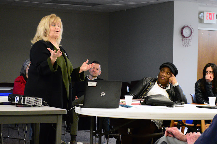 Kathy Roberts dicusses affordable housing in Kalamazoo. Photo by Mark Wedel